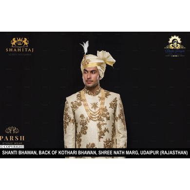 S H A H I T A J Traditional Rajasthani Wedding Udaipuri Silk Pagdi Safa or Turban for Groom or Dulha (CT246)-ST326_23andHalf