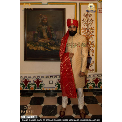 S H A H I T A J Traditional Rajasthani Wedding Udaipuri Red Silk Brocade Pagdi Safa or Turban for Groom or Dulha (CT247)-ST327_21andHalf