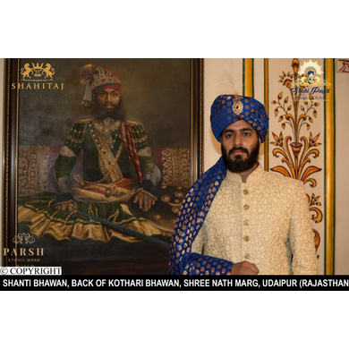 S H A H I T A J Traditional Rajasthani Wedding Udaipuri Blue Silk Brocade Pagdi Safa or Turban for Groom or Dulha (CT248)-ST328_22andHalf