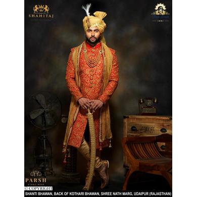 S H A H I T A J Traditional Rajasthani Wedding Golden Silk Udaipuri Pagdi Safa or Turban for Groom or Dulha (CT239)-ST319_21