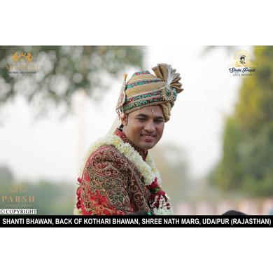 S H A H I T A J Traditional Rajasthani Wedding Jodhpuri & Rajputi Silk and Brocade Pagdi Safa or Turban for Groom or Dulha (CT250)-ST330_23andHalf