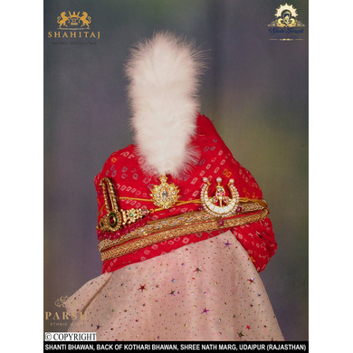 S H A H I T A J Traditional Rajasthani Wedding Udaipuri Georgette Red Bandhej Pagdi Safa or Turban for Groom or Dulha (CT251)-ST331_22andHalf