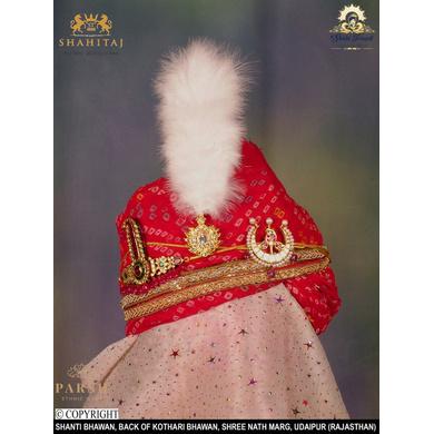 S H A H I T A J Traditional Rajasthani Wedding Udaipuri Georgette Red Bandhej Pagdi Safa or Turban for Groom or Dulha (CT251)-ST331_23andHalf
