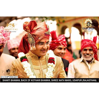 S H A H I T A J Traditional Rajasthani Wedding Jodhpuri Strawberry Silk Pagdi Safa or Turban for Groom or Dulha (CT252)-ST332_21andHalf