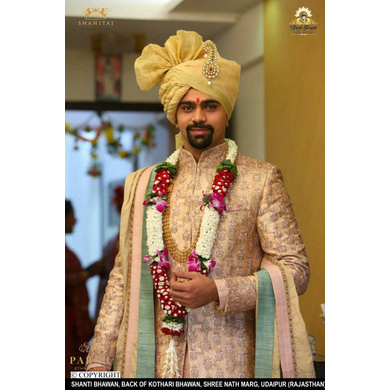 S H A H I T A J Traditional Rajasthani Wedding Udaipuri Golden Checkered Silk Pagdi Safa or Turban for Groom or Dulha (CT253)-ST333_22andHalf