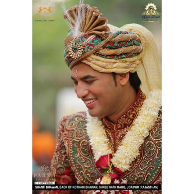 S H A H I T A J Traditional Rajasthani Wedding Jodhpuri & Rajputi Silk and Brocade Pagdi Safa or Turban for Groom or Dulha (CT250)-21-3