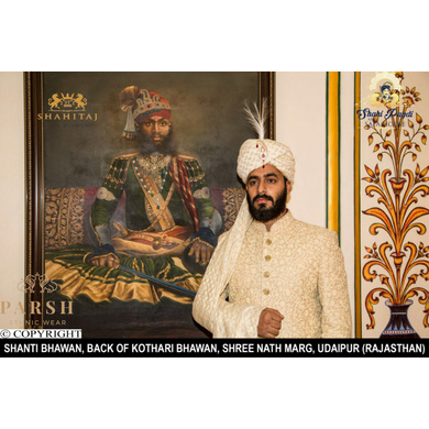 S H A H I T A J Sabyasachi Style Traditional Wedding Printed Silk Pagdi Safa or Turban for Groom or Dulha (CT249)-ST329_21