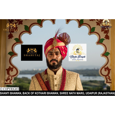 S H A H I T A J Traditional Rajasthani Wedding Udaipuri Rani or Magenta Checkered Silk Pagdi Safa or Turban for Groom or Dulha (CT254)-ST334_21