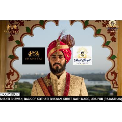 S H A H I T A J Traditional Rajasthani Wedding Udaipuri Rani or Magenta Checkered Silk Pagdi Safa or Turban for Groom or Dulha (CT254)-ST334_21andHalf