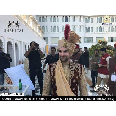 S H A H I T A J Traditional Rajasthani Wedding Udaipuri Golden Silk Pagdi Safa or Turban for Groom or Dulha (CT256)-ST336_23