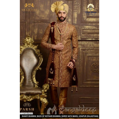S H A H I T A J Traditional Rajasthani Wedding Rajputi Golden Silk Pagdi Safa or Turban for Groom or Dulha (CT257)-ST337_21