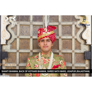 S H A H I T A J Traditional Rajasthani Wedding Red Cotton Bandhej Jodhpuri Pagdi Safa or Turban for Groom or Dulha (CT258)-ST338_21andHalf