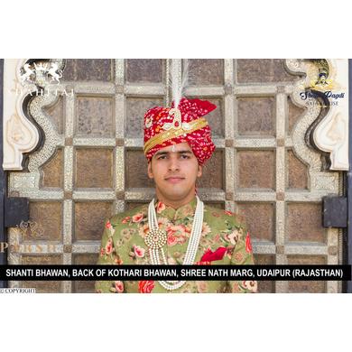 S H A H I T A J Traditional Rajasthani Wedding Red Cotton Bandhej Jodhpuri Pagdi Safa or Turban for Groom or Dulha (CT258)-ST338_23andHalf