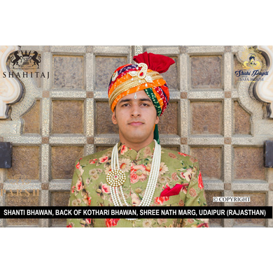 S H A H I T A J Traditional Rajasthani Wedding Multi-Colored Cotton Bandhej Jodhpuri Pagdi Safa or Turban for Groom or Dulha (CT259)-ST339_21andHalf