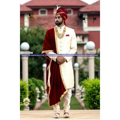 S H A H I T A J Traditional Rajasthani Wedding Maroon Silk Udaipuri Pagdi Safa or Turban for Groom or Dulha (CT261)-ST341_21andHalf