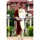 S H A H I T A J Traditional Rajasthani Wedding Maroon Silk Udaipuri Pagdi Safa or Turban for Groom or Dulha (CT261)-ST341_21andHalf-sm