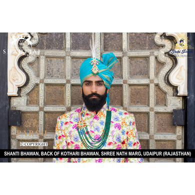 S H A H I T A J Traditional Rajasthani Wedding Firozi or Turquoise Silk Udaipuri Pagdi Safa or Turban for Groom or Dulha (CT262)-ST342_22andHalf