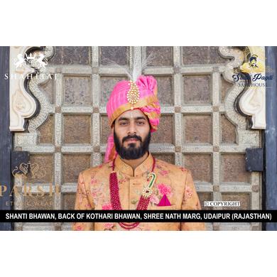 S H A H I T A J Traditional Rajasthani Wedding Pink Checkered Silk Jodhpuri Pagdi Safa or Turban for Groom or Dulha (CT263)-ST343_23andHalf