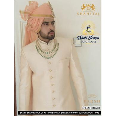 S H A H I T A J Traditional Rajasthani Wedding Peach Silk Udaipuri Pagdi Safa or Turban for Groom or Dulha (CT264)-ST344_23andHalf