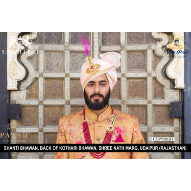 S H A H I T A J Traditional Rajasthani Wedding Pink Silk Udaipuri Pagdi Safa or Turban for Groom or Dulha (CT265)-ST345_22