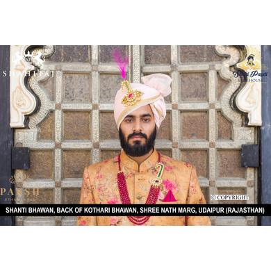 S H A H I T A J Traditional Rajasthani Wedding Pink Silk Udaipuri Pagdi Safa or Turban for Groom or Dulha (CT265)-ST345_22andHalf
