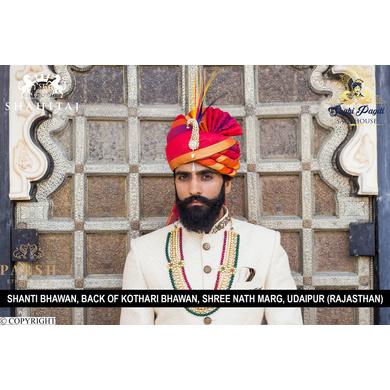 S H A H I T A J Traditional Rajasthani Wedding Multi-Colored Silk Jodhpuri Pagdi Safa or Turban for Groom or Dulha (CT267)-ST347_21andHalf