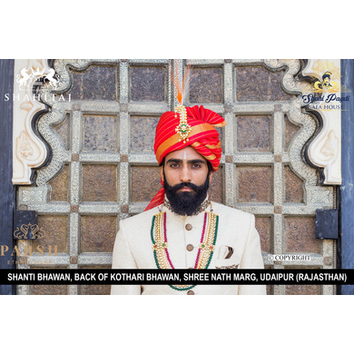 S H A H I T A J Traditional Rajasthani Wedding Red Silk Udaipuri Pagdi Safa or Turban for Groom or Dulha (CT268)-ST348_23