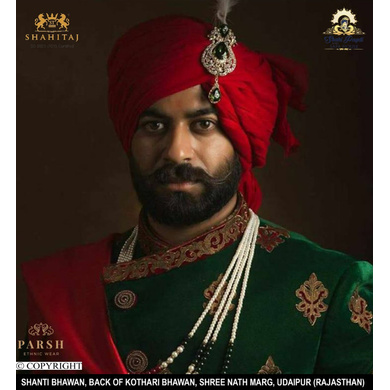 S H A H I T A J Traditional Rajasthani Wedding Red Cotton Udaipuri Pagdi Safa or Turban for Groom or Dulha (CT269)-ST349_23andHalf