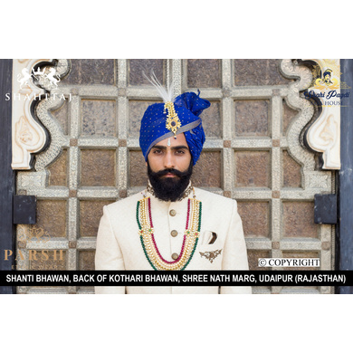 S H A H I T A J Traditional Rajasthani Wedding Blue Silk Golden Dotted Udaipuri Pagdi Safa or Turban for Groom or Dulha (CT271)-ST351_23andHalf