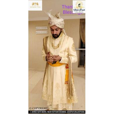 S H A H I T A J Traditional Rajasthani Wedding White Brocade & Silk Jodhpuri & Rajputi Pagdi Safa or Turban for Groom or Dulha (CT272)-ST352_21andHalf