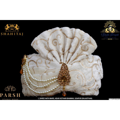 S H A H I T A J Traditional Rajasthani Wedding White Velvet & Brocade Groom or Dulha Pagdi Safa or Turban for Kids and Adults (RT291)-ST387_21andhalf
