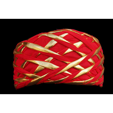 S H A H I T A J Traditional Rajasthani Red Color Faux Silk Marwadi Munshi Pagdi Safa or Turban for Kids and Adults (RT317)-ST477_23