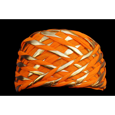 S H A H I T A J Traditional Rajasthani Orange or Kesariya Color Faux Silk Marwadi Munshi Pagdi Safa or Turban for Kids and Adults (RT318)-ST478_18andHalf