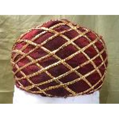 S H A H I T A J Traditional Rajasthani Maroon Color Faux Silk Marwadi Munshi Pagdi Safa or Turban for Kids and Adults (RT320)-ST480_22andHalf