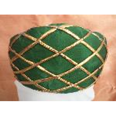 S H A H I T A J Traditional Rajasthani Green Color Faux Silk Marwadi Munshi Pagdi Safa or Turban for Kids and Adults (RT321)-ST481_18andHalf