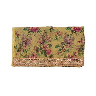 S H A H I T A J Traditional Rajasthani Floral Faux Silk Yellow Barati/Groom/Social Occasions Turban Safa Pagdi Pheta Cloth for Kids and Adults (CT341)-Free Size-1