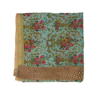S H A H I T A J Traditional Rajasthani Floral Faux Silk Green Barati/Groom/Social Occasions Turban Safa Pagdi Pheta Cloth for Kids and Adults (CT342)-ST502