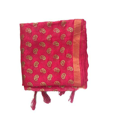 S H A H I T A J Traditional Rajasthani Boota Faux Silk Pink Barati/Groom/Social Occasions Turban Safa Pagdi Pheta Cloth for Kids and Adults (CT351)-Free Size-1
