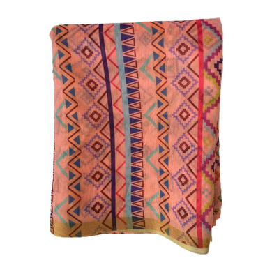 S H A H I T A J Traditional Rajasthani Aztec Print Faux Silk Peach Barati/Groom/Social Occasions Turban Safa Pagdi Pheta Cloth for Kids and Adults (CT376)-Free Size-1