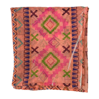 S H A H I T A J Traditional Rajasthani Aztec Print Faux Silk Peach Barati/Groom/Social Occasions Turban Safa Pagdi Pheta Cloth for Kids and Adults (CT376)-Free Size-2