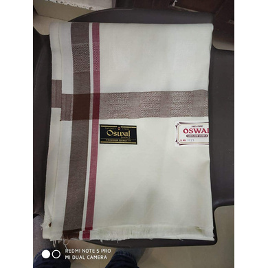 S H A H I T A J Traditional Rajasthani Oswal Unisex Cotton Off-White Stole or Shawl For Social Occasions (DS400) (Pack of 1 Piece)-Free Size-2