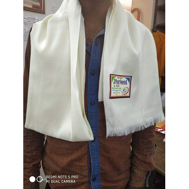 S H A H I T A J Traditional Rajasthani Dhariwal Unisex Cotton Off-White Stole or Shawl For Social Occasions (DS402) (Pack of 1 Piece)-Free Size-1