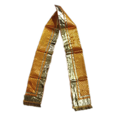 S H A H I T A J Traditional Rajasthani Unisex Yellow Satin Uparna/Stole for Social Occasions/Bhagwan or God's Idols (DS404) (Pack of 3 Pieces)-ST564