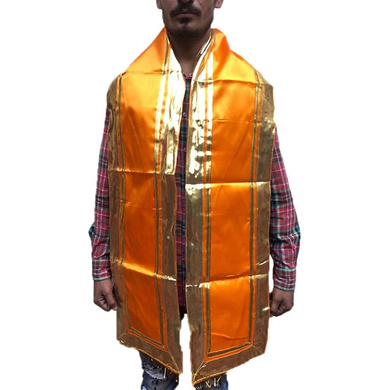 S H A H I T A J Traditional Rajasthani Unisex Orange Kesariya Satin Uparna/Stole for Social Occasions/Bhagwan or God's Idols (DS405) (Pack of 1 Piece)-ST565
