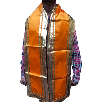 S H A H I T A J Traditional Rajasthani Unisex Orange Kesariya Satin Uparna/Stole for Social Occasions/Bhagwan or God's Idols (DS405) (Pack of 1 Piece)-Free Size-1