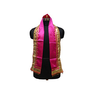 S H A H I T A J Traditional Rajasthani Unisex Pink Satin Uparna/Stole for Social Occasions/Bhagwan or God's Idols (DS409) (Pack of 3 Pieces)-ST569