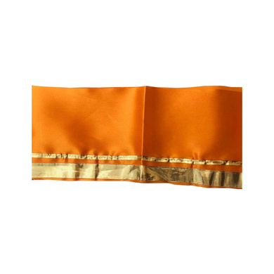 S H A H I T A J Traditional Rajasthani Unisex Satin Orange Kesariya Uparna/Stole for Social Occasions/Bhagwan or God's Idols (DS412) (Pack of 3 Pieces)-Free Size-1