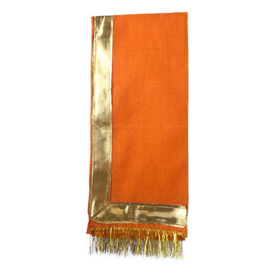 S H A H I T A J Traditional Rajasthani Unisex Satin Orange Kesariya Uparna/Stole for Social Occasions/Bhagwan or God's Idols (DS412) (Pack of 3 Pieces)-Free Size-2