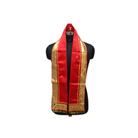 S H A H I T A J Traditional Rajasthani Unisex Satin Red Uparna/Stole for Social Occasions/Bhagwan or God's Idols (DS413) (Pack of 3 Pieces)