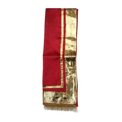 S H A H I T A J Traditional Rajasthani Unisex Satin Red Uparna/Stole for Social Occasions/Bhagwan or God's Idols (DS413) (Pack of 3 Pieces)-Free Size-2